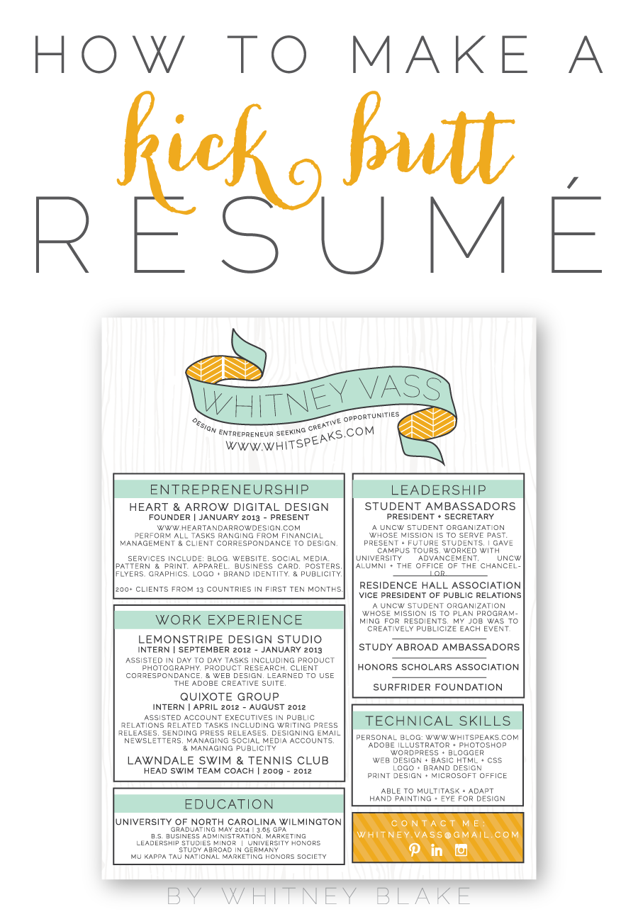 how to make a kick butt resum eacute whitney blake custom resume design