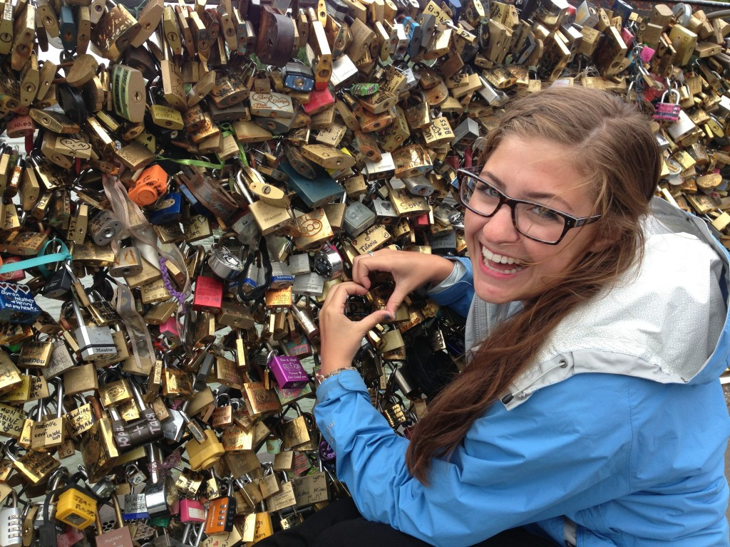 Putting a lock on the Pont de l'Archevêché in Paris!