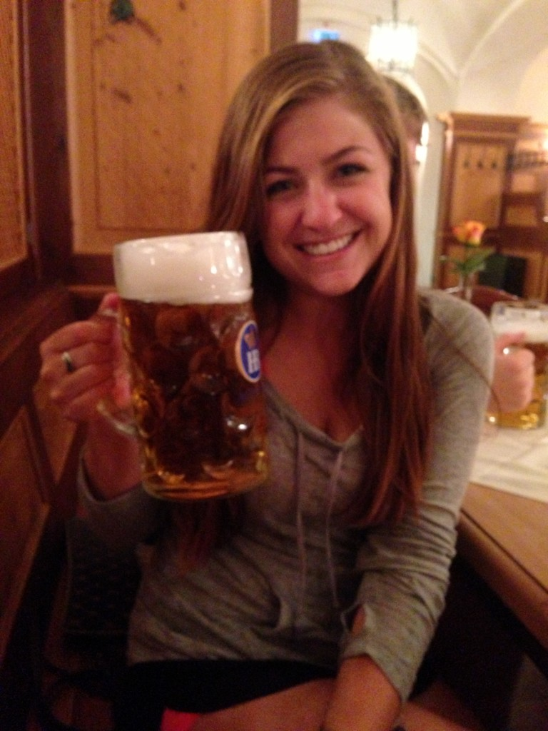 Enjoying a stein at the Hofbräuhaus in Munich