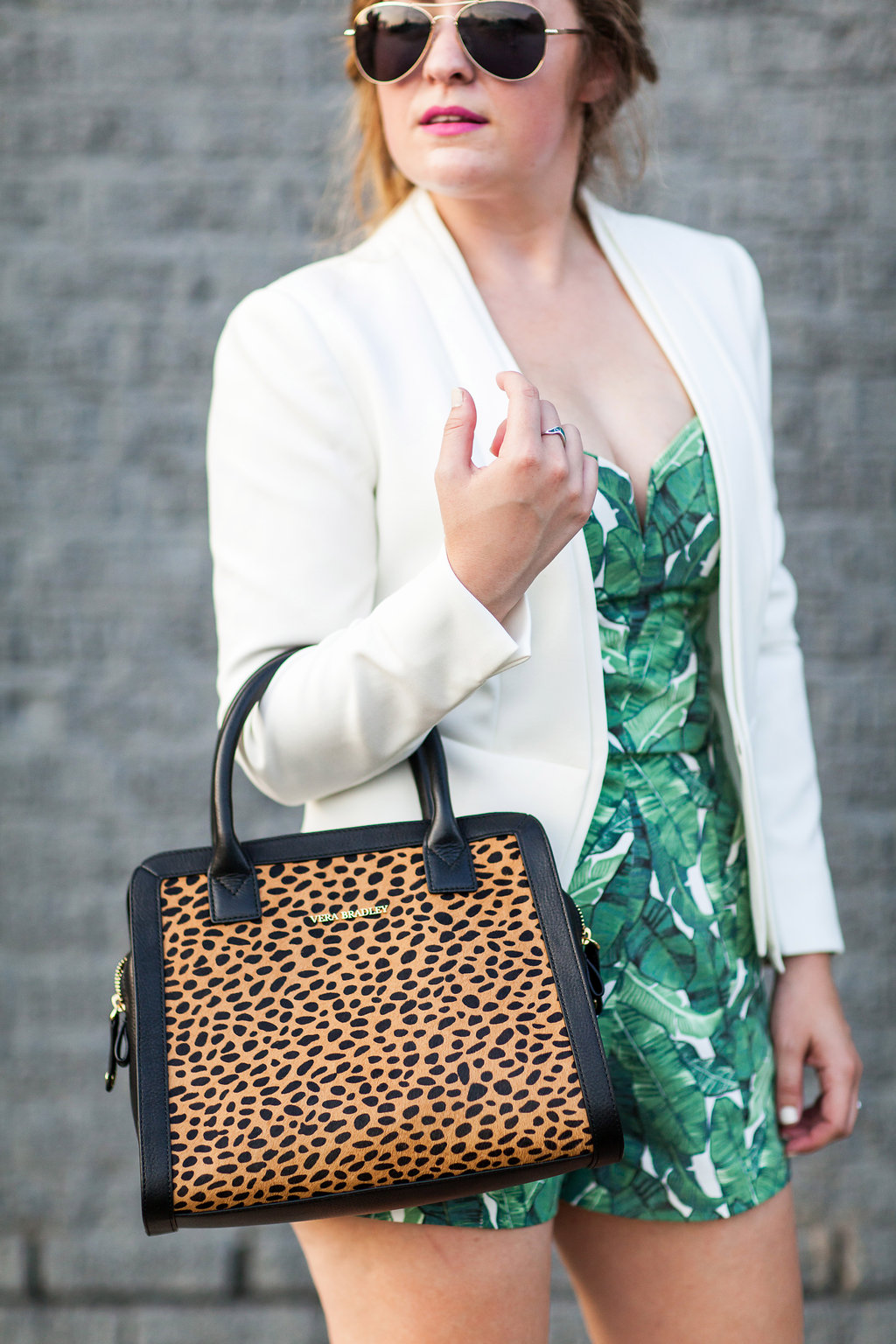 Palm print and leopard outfit