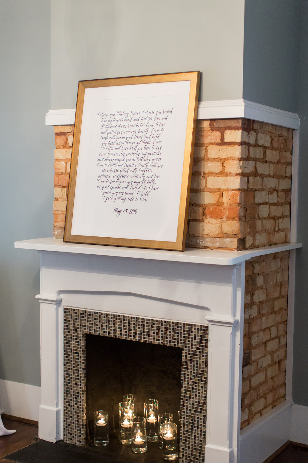 Framed Wedding Vows Decor