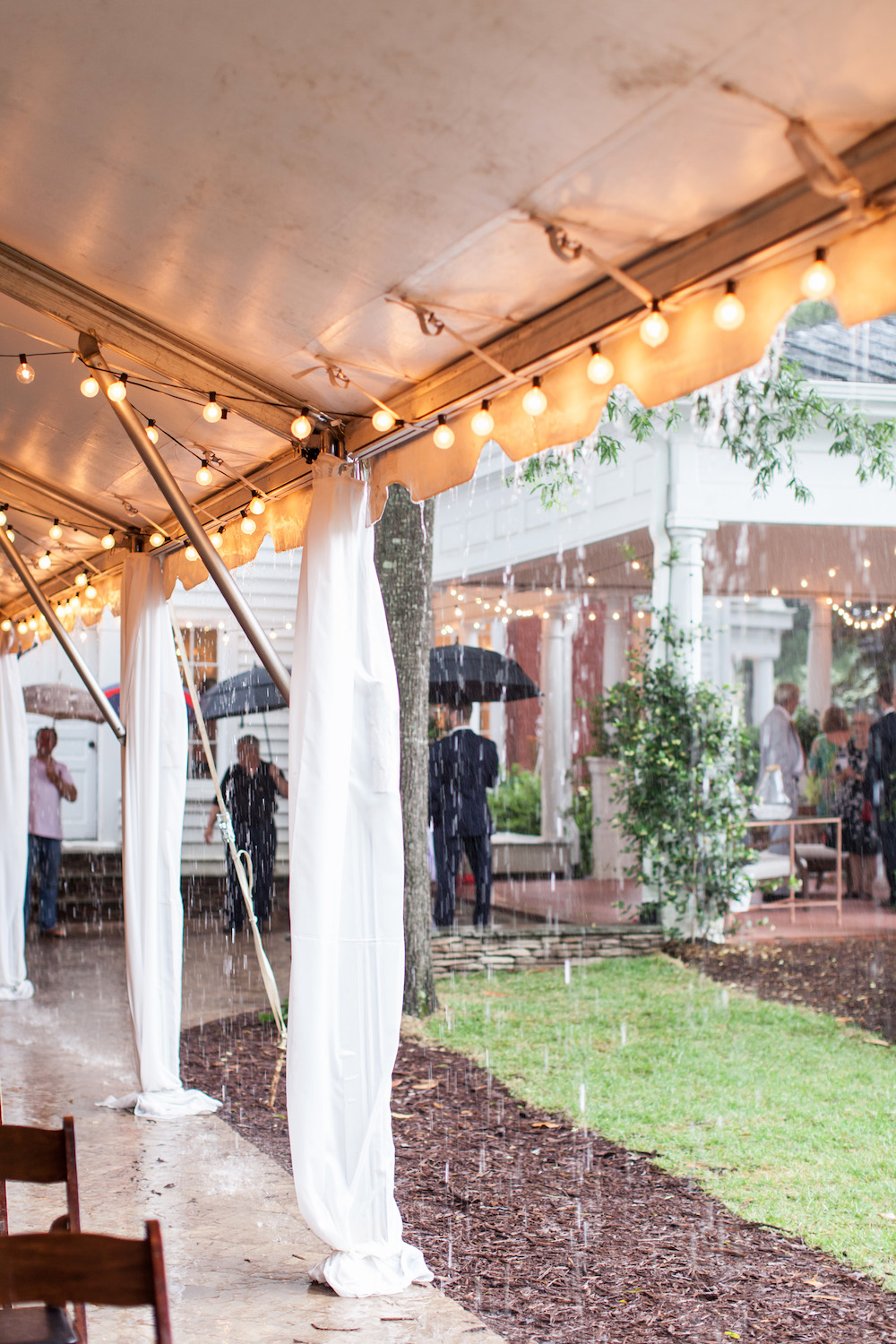 Rainy wedding tent