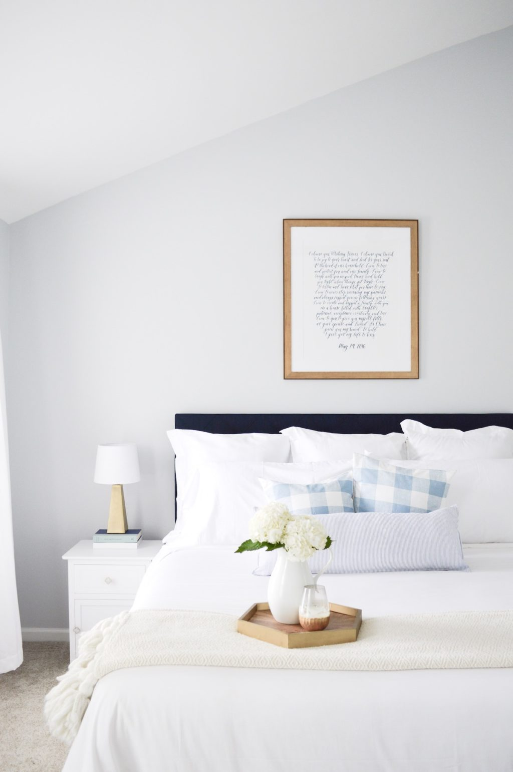 Soft white and gray master bedroom